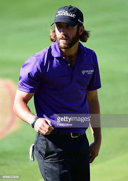 Andrew Loupe reacts after saving par on the fifth green during the final round of the CareerBuilder Challenge In Partnership With The Clinton...