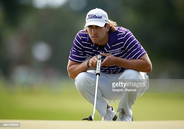 Andrew Loupe reads a putt on the first green during the final round of the Webcom Tour Nationwide Children's Hospital Championship at The Ohio State...