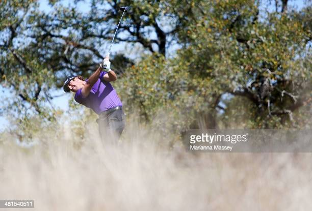 Andrew Loupe tees off on the 2nd during the Final Round of the Valero Texas Open at TPC San Antonio ATT Oaks Course on March 30 2014 in San Antonio...