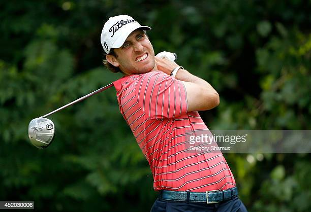 Andrew Loupe tees off on the second hole during the second round of the John Deere Classic held at TPC Deere Run on July 11 2014 in Silvis Illinois