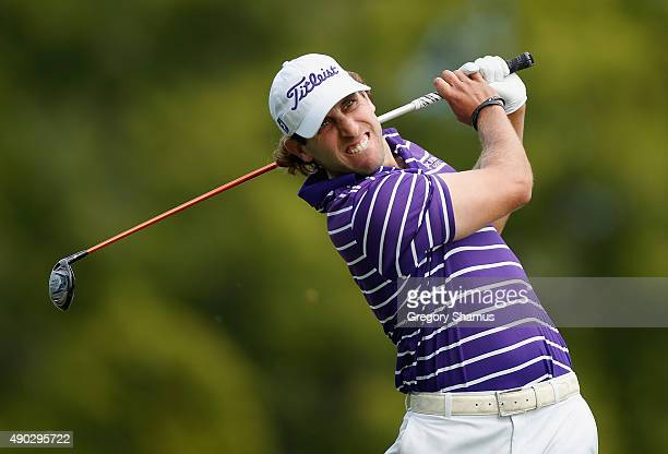 Andrew Loupe watches his drive on the second hole during the final round of the Webcom Tour Nationwide Children's Hospital Championship at The Ohio...