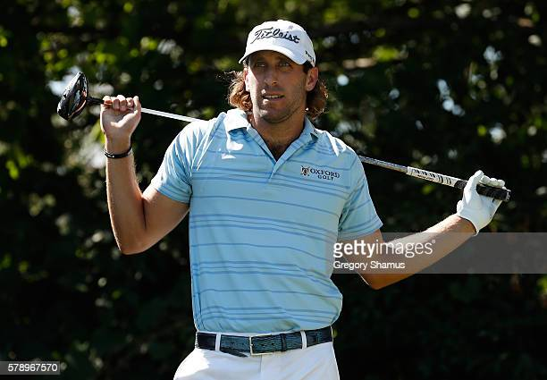 Andrew Loupe watches his tee shot on the 16th hole during the second round of the RBC Canadian Open at Glen Abbey Golf Club on July 22 2016 in...