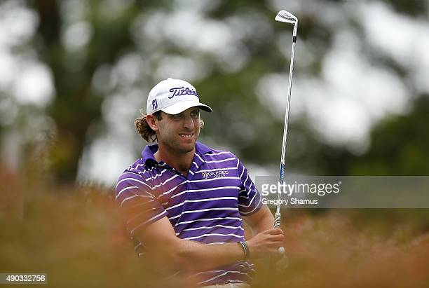 Andrew Loupe watches his tee shot on the 17th hole during the final round of the Webcom Tour Nationwide Children's Hospital Championship at The Ohio...