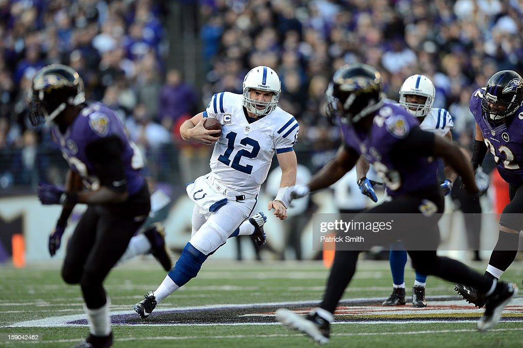 Andrew Luck #12 of te Indianapolis Colts runs the ball against the Baltimore Ravens during the AFC Wild Card Playoff Game at M&T Bank Stadium on January 6, 2013 in Baltimore, Maryland.
