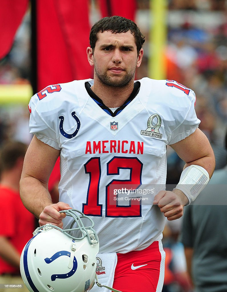 Andrew Luck #12 of the Indianapolis Colts and the AFC is introduced before the 2013 Pro Bowl against the National Football Conference team at Aloha Stadium on January 27, 2013 in Honolulu, Hawaii