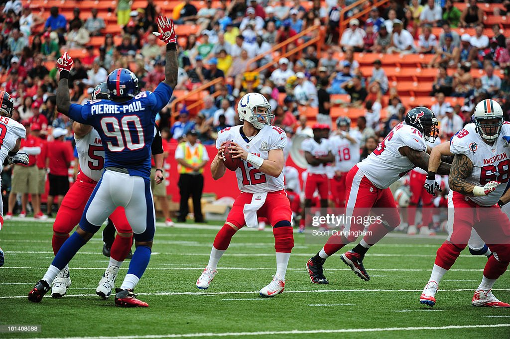 Andrew Luck #12 of the Indianapolis Colts and the AFC passes against the NFC team during the 2013 Pro Bowl at Aloha Stadium on January 27, 2013 in Honolulu, Hawaii.