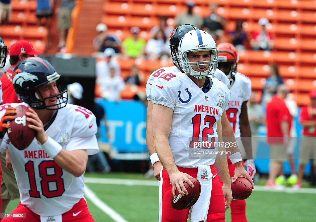 Andrew Luck #12 of the Indianapolis Colts and the AFC warms up before the 2013 Pro Bowl against the NFC team at Aloha Stadium on January 27, 2013 in Honolulu, Hawaii.