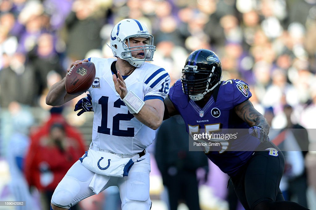 Andrew Luck #12 of the Indianapolis Colts attempts to pass against Terrell Suggs #55 of the Baltimore Ravens during the AFC Wild Card Playoff Game at M&T Bank Stadium on January 6, 2013 in Baltimore, Maryland.