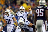 Andrew Luck of the Indianapolis Colts calls a play against the New England Patriots during the AFC Divisional Playoff game at Gillette Stadium on...