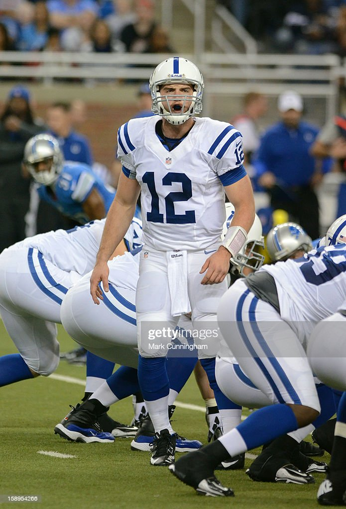 <a gi-track='captionPersonalityLinkClicked' href=/galleries/search?phrase=Andrew+Luck&family=editorial&specificpeople=6258221 ng-click='$event.stopPropagation()'>Andrew Luck</a> #12 of the Indianapolis Colts calls a play at the line of scrimmage during the game against the Detroit Lions at Ford Field on December 2, 2012 in Detroit, Michigan. The Colts defeated the Lions 35-33.