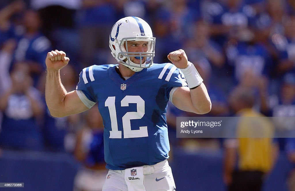 <a gi-track='captionPersonalityLinkClicked' href=/galleries/search?phrase=Andrew+Luck&family=editorial&specificpeople=6258221 ng-click='$event.stopPropagation()'>Andrew Luck</a> #12 of the Indianapolis Colts celebrates after a touchdown during the game against the Tennessee Titans at Lucas Oil Stadium on September 28, 2014 in Indianapolis, Indiana.