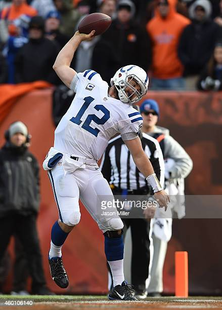 Andrew Luck of the Indianapolis Colts celebrates his touchdown during the second quarter against the Cleveland Browns at FirstEnergy Stadium on...