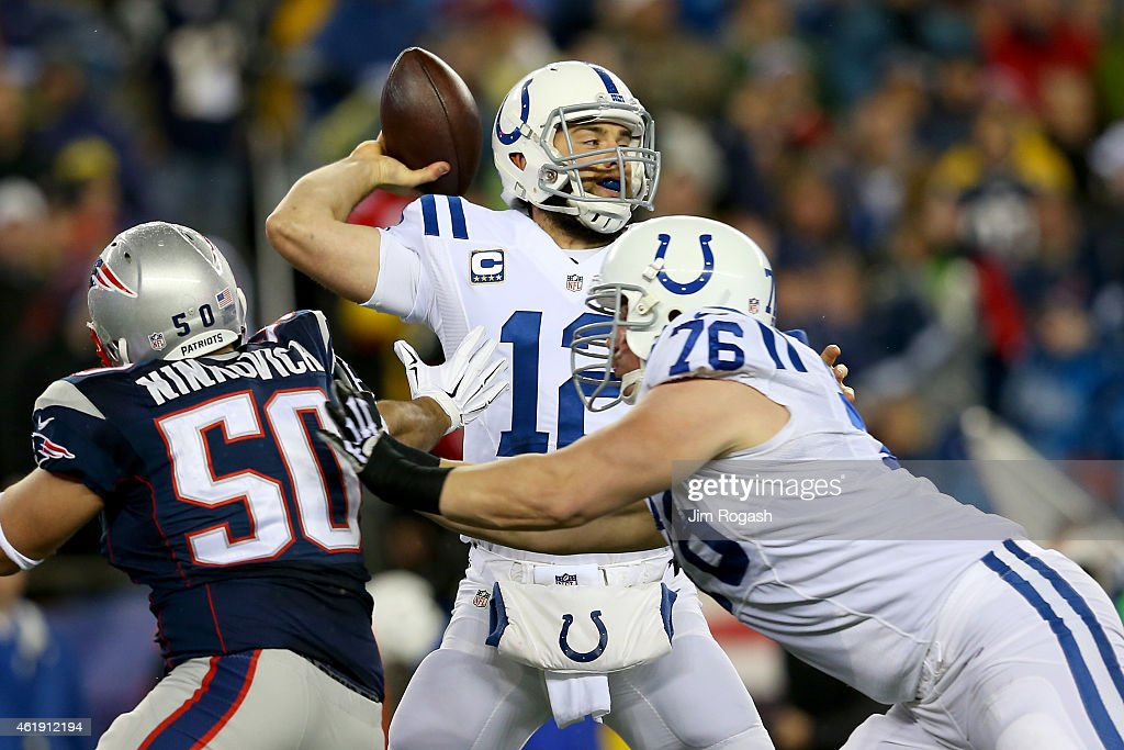 Andrew Luck of the Indianapolis Colts in action in the first quarter against the New England Patriots of the 2015 AFC Championship Game at Gillette...
