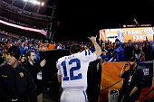 Andrew Luck of the Indianapolis Colts leaves the field after defeating the Denver Broncos 2413 in a 2015 AFC Divisional Playoff game at Sports...