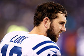Andrew Luck of the Indianapolis Colts looks on against the New York Giants during their game at MetLife Stadium on November 3 2014 in East Rutherford...