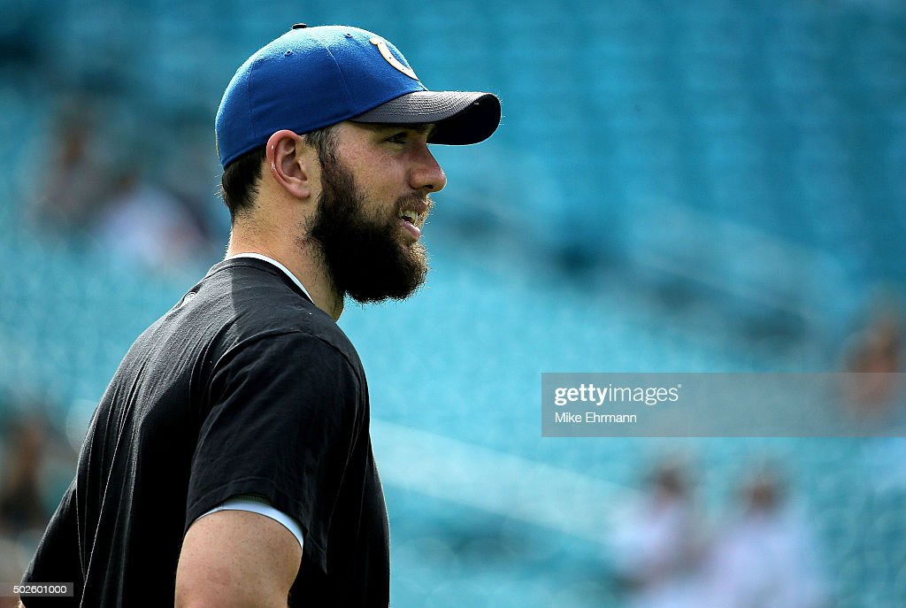 Andrew Luck #12 of the Indianapolis Colts looks on during a game against the Miami Dolphins at Sun Life Stadium on December 27, 2015 in Miami Gardens, Florida.