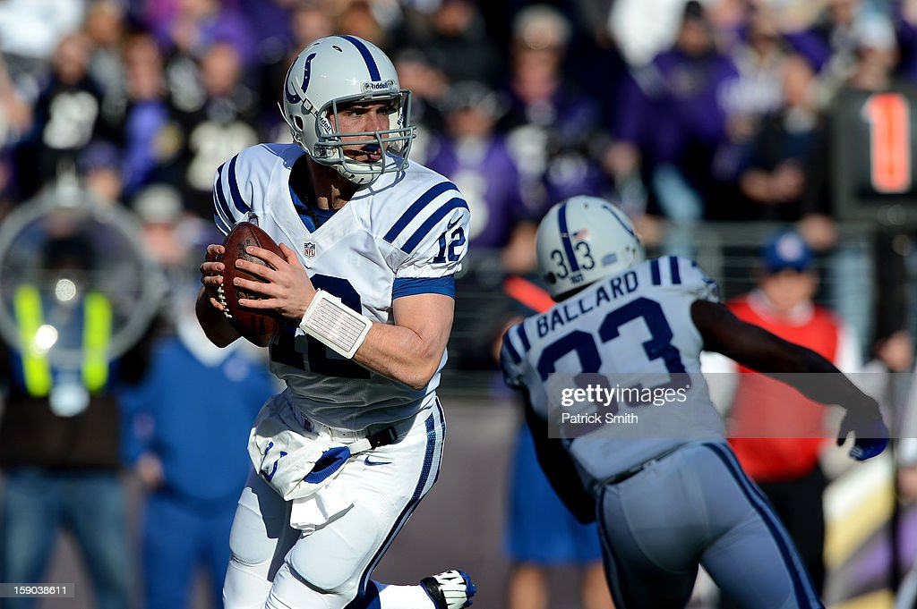 Andrew Luck #12 of the Indianapolis Colts looks to pass in the first half against the Baltimore Ravens during the AFC Wild Card Playoff Game at M&T Bank Stadium on January 6, 2013 in Baltimore, Maryland.
