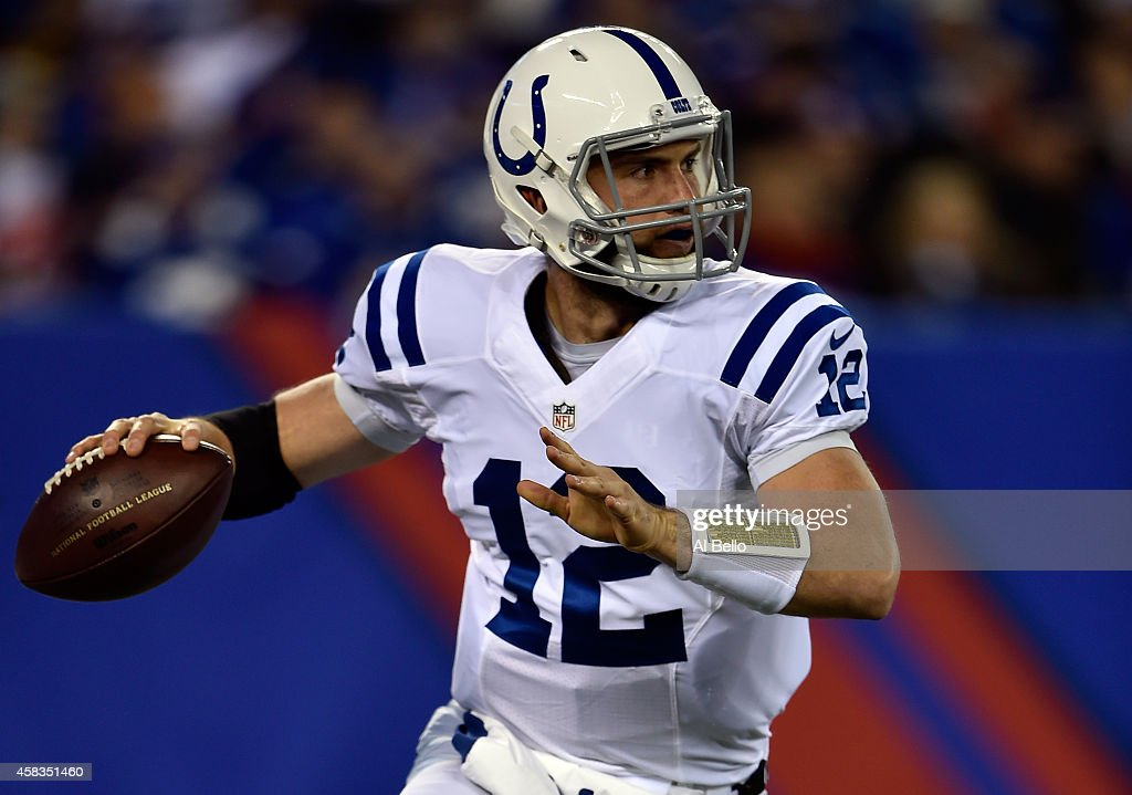 <a gi-track='captionPersonalityLinkClicked' href=/galleries/search?phrase=Andrew+Luck&family=editorial&specificpeople=6258221 ng-click='$event.stopPropagation()'>Andrew Luck</a> #12 of the Indianapolis Colts looks to throw a pass in the in the first quarter against the New York Giants during their game at MetLife Stadium on November 3, 2014 in East Rutherford, New Jersey.
