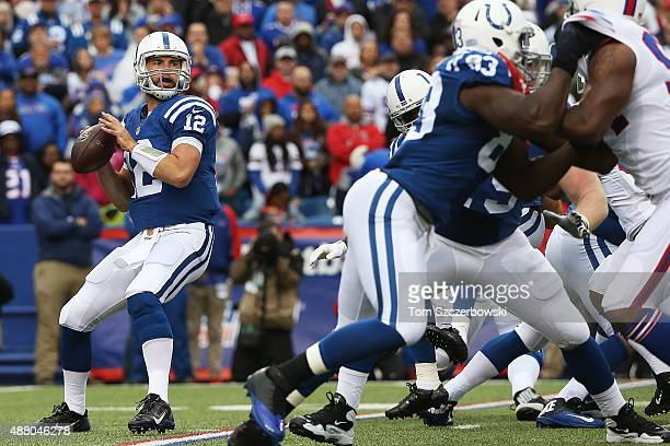 Andrew Luck of the Indianapolis Colts looks to throw against the Buffalo Bills during the first half at Ralph Wilson Stadium on September 13 2015 in...