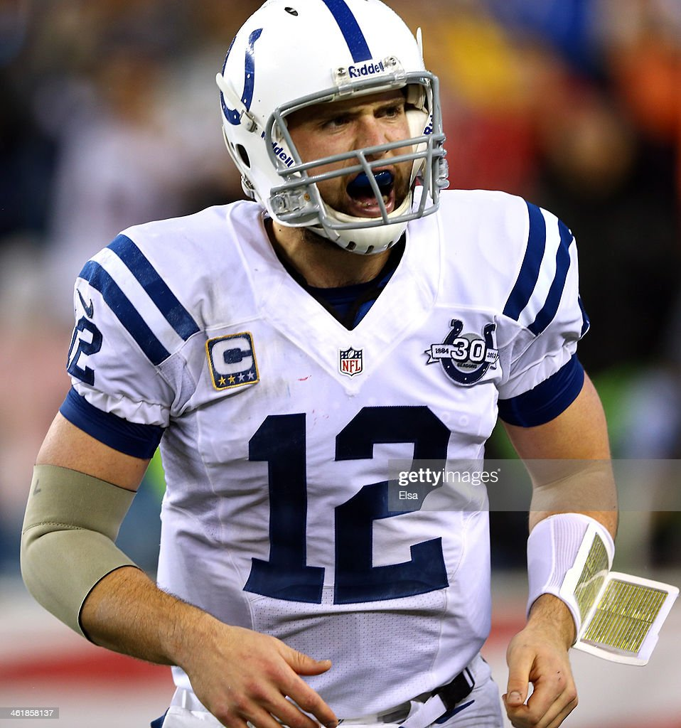 <a gi-track='captionPersonalityLinkClicked' href=/galleries/search?phrase=Andrew+Luck&family=editorial&specificpeople=6258221 ng-click='$event.stopPropagation()'>Andrew Luck</a> #12 of the Indianapolis Colts reacts after a play against the New England Patriots during the AFC Divisional Playoff game at Gillette Stadium on January 11, 2014 in Foxboro, Massachusetts.