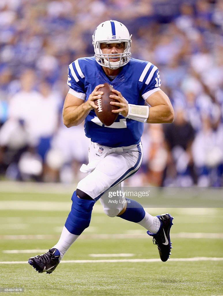 <a gi-track='captionPersonalityLinkClicked' href=/galleries/search?phrase=Andrew+Luck&family=editorial&specificpeople=6258221 ng-click='$event.stopPropagation()'>Andrew Luck</a> #12 of the Indianapolis Colts runs with the ball against the New Orleans Saints during the exhibition game at Lucas Oil Stadium on August 23, 2014 in Indianapolis, Indiana.