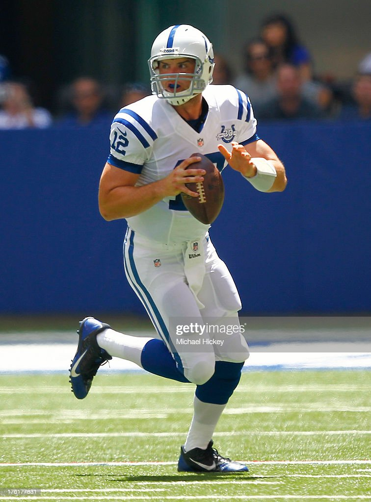 <a gi-track='captionPersonalityLinkClicked' href=/galleries/search?phrase=Andrew+Luck&family=editorial&specificpeople=6258221 ng-click='$event.stopPropagation()'>Andrew Luck</a> #12 of the Indianapolis Colts scrambles out of the pocket against the Buffalo Bills at Lucas Oil Stadium on August 11, 2013 in Indianapolis, Indiana.