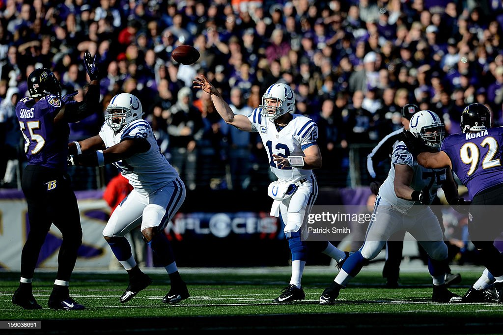 Andrew Luck #12 of the Indianapolis Colts throws a pass against the Baltimore Ravens during the AFC Wild Card Playoff Game at M&T Bank Stadium on January 6, 2013 in Baltimore, Maryland.