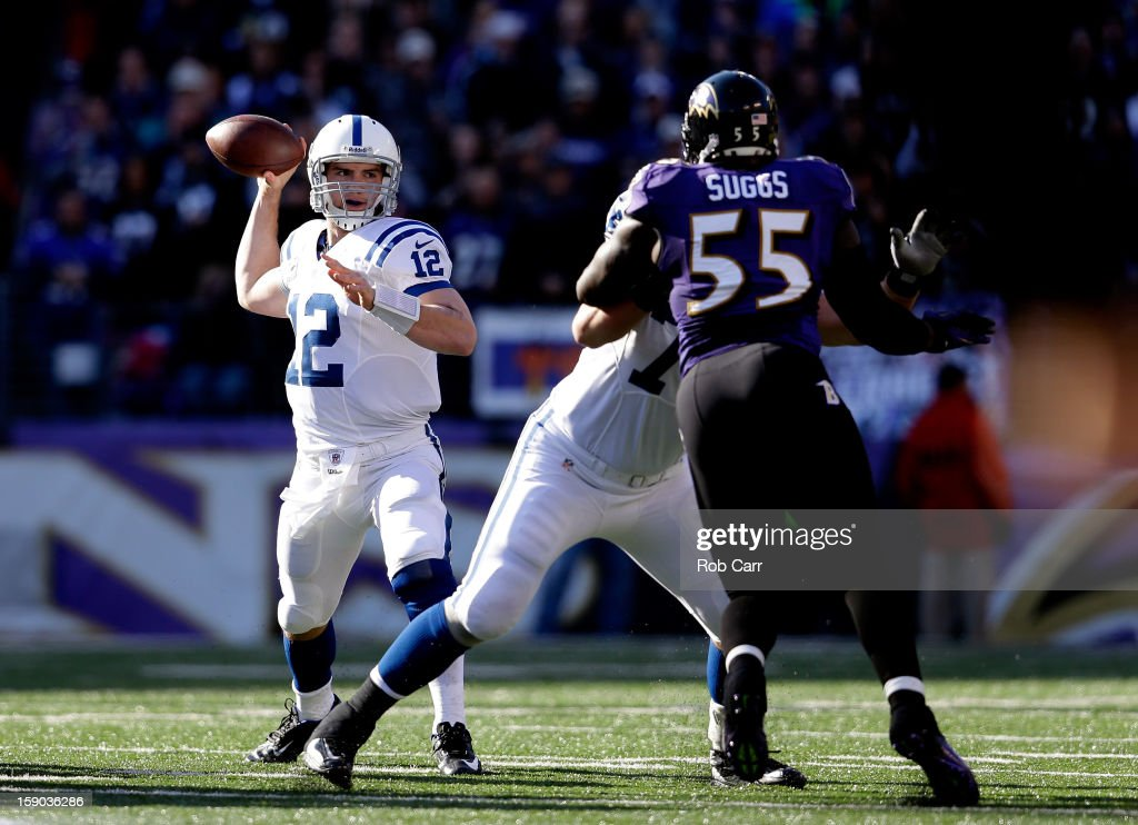 <a gi-track='captionPersonalityLinkClicked' href=/galleries/search?phrase=Andrew+Luck&family=editorial&specificpeople=6258221 ng-click='$event.stopPropagation()'>Andrew Luck</a> #12 of the Indianapolis Colts throws a pass in the first quarter against <a gi-track='captionPersonalityLinkClicked' href=/galleries/search?phrase=Terrell+Suggs&family=editorial&specificpeople=215464 ng-click='$event.stopPropagation()'>Terrell Suggs</a> #55 of the Baltimore Ravens during the AFC Wild Card Playoff Game at M&T Bank Stadium on January 6, 2013 in Baltimore, Maryland.