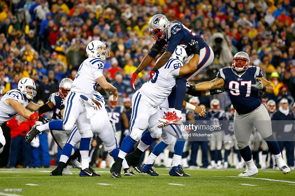 Andrew Luck of the Indianapolis Colts throws the ball against the New England Patriots of the 2015 AFC Championship Game at Gillette Stadium on...