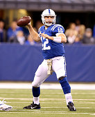 Andrew Luck of the Indianapolis Colts throws the ball during the game against the Denver Broncos at Lucas Oil Stadium on November 8 2015 in...