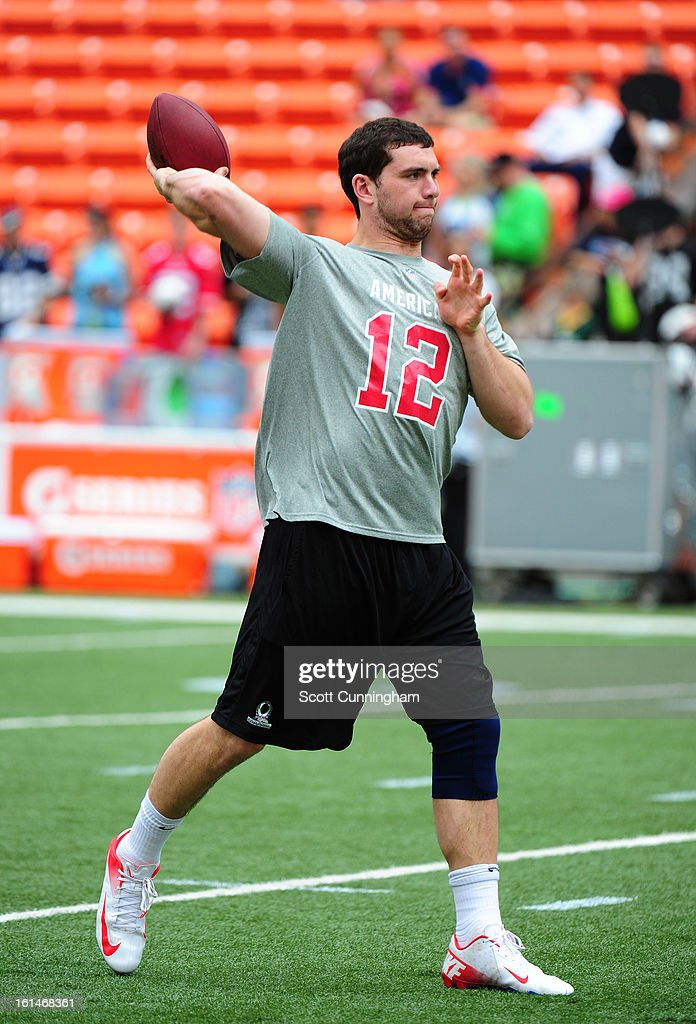 Andrew Luck #12 of the Indianapolis Colts warms up before the 2013 Pro Bowl against the National Football Conference team at Aloha Stadium on January 27, 2013 in Honolulu, Hawaii.