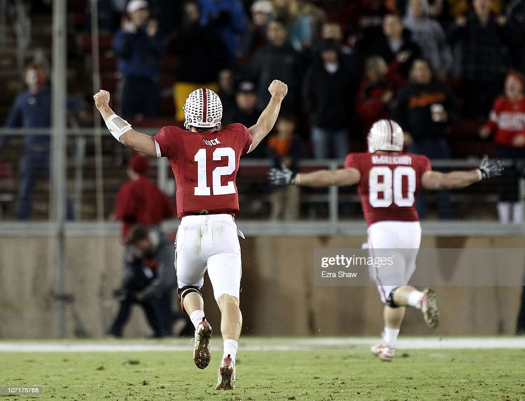 <a gi-track='captionPersonalityLinkClicked' href=/galleries/search?phrase=Andrew+Luck&family=editorial&specificpeople=6258221 ng-click='$event.stopPropagation()'>Andrew Luck</a> #12 of the Stanford Cardinal celebrates after they scored a touchdown during their game against the Oregon State Beavers at Stanford Stadium on November 27, 2010 in Palo Alto, California.