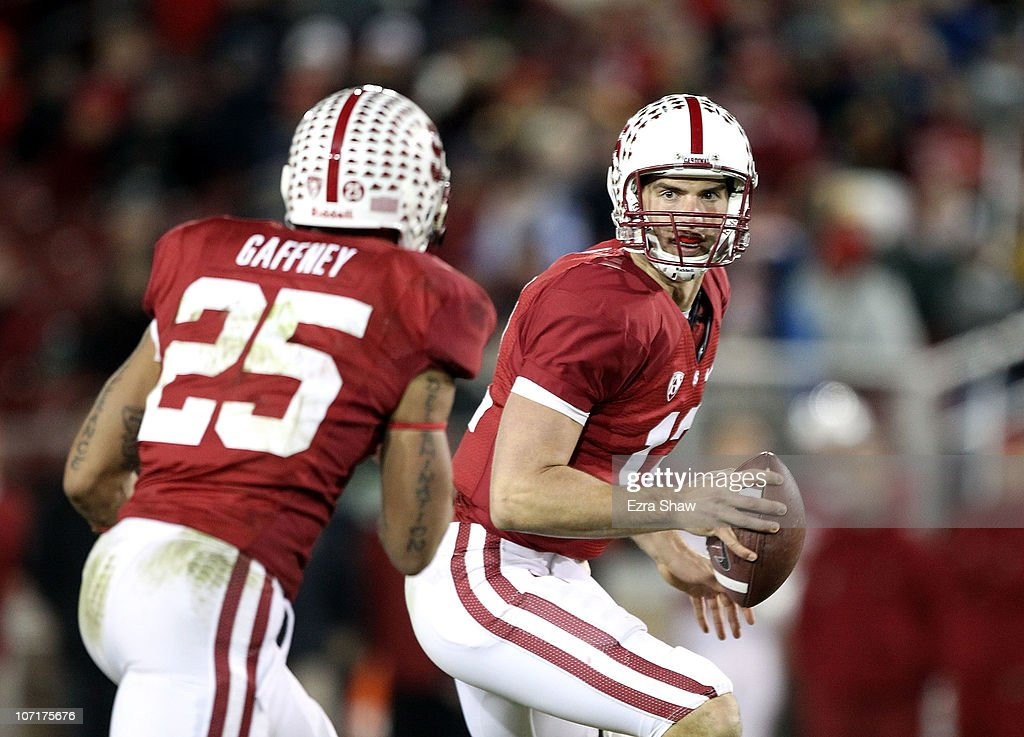 <a gi-track='captionPersonalityLinkClicked' href=/galleries/search?phrase=Andrew+Luck&family=editorial&specificpeople=6258221 ng-click='$event.stopPropagation()'>Andrew Luck</a> #12 of the Stanford Cardinal pitches the ball to Tyler Gaffney #25 during their game against the Oregon State Beavers at Stanford Stadium on November 27, 2010 in Palo Alto, California.