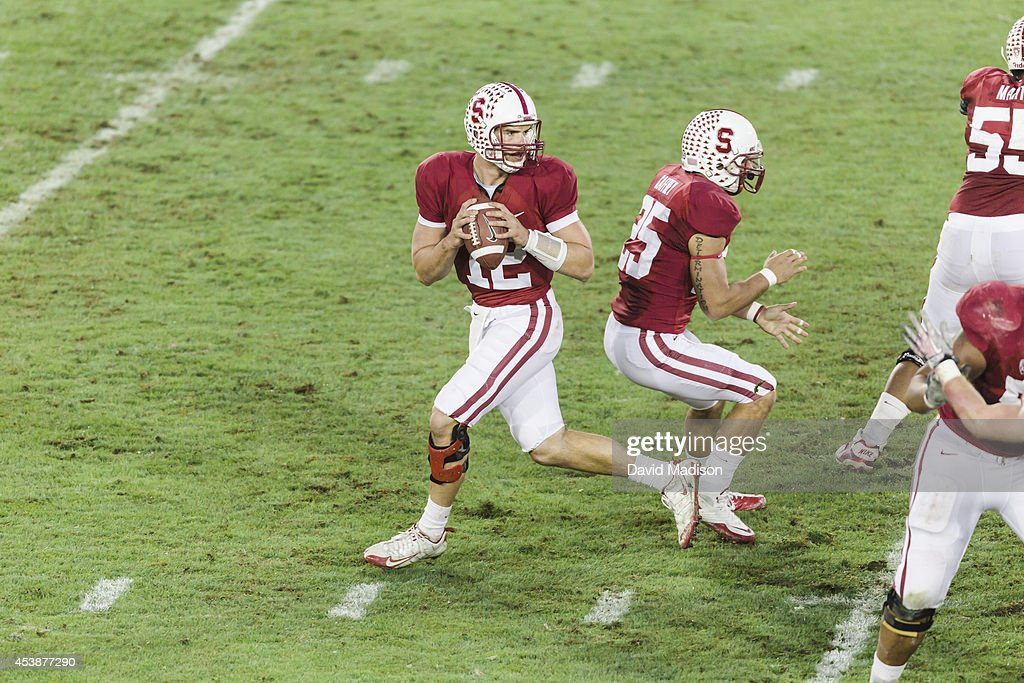<a gi-track='captionPersonalityLinkClicked' href=/galleries/search?phrase=Andrew+Luck&family=editorial&specificpeople=6258221 ng-click='$event.stopPropagation()'>Andrew Luck</a> #12, quarterback of the Stanford Cardinal, attempts a pass during a PAC-12 NCAA football game against the Oregon State Beavers played on November 27, 2010 at Stanford Stadium in Palo Alto, California. Blocking for Luck is <a gi-track='captionPersonalityLinkClicked' href=/galleries/search?phrase=Tyler+Gaffney&family=editorial&specificpeople=7174690 ng-click='$event.stopPropagation()'>Tyler Gaffney</a> #25.