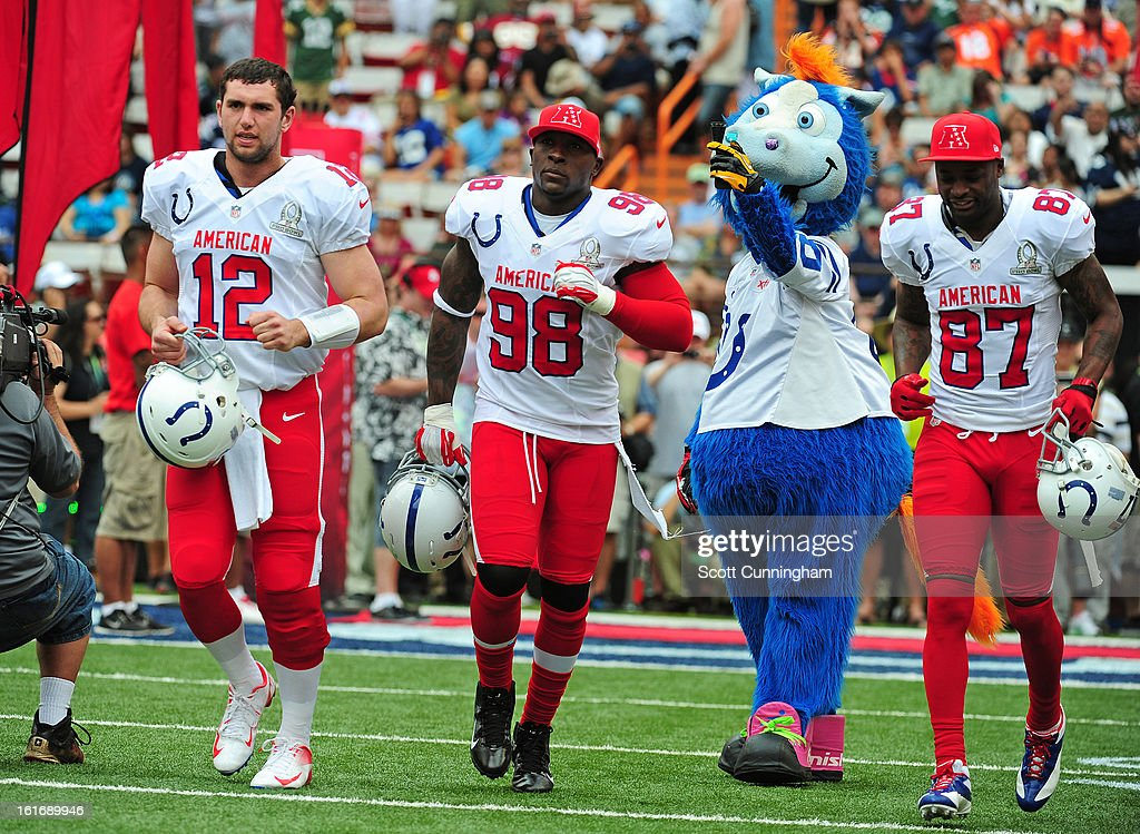 Andrew Luck #12, Robert Mathis #98, and Reggie Wayne #87 of the Indianapolis Colts and the AFC are introduced before the 2013 Pro Bowl against the National Football Conference team at Aloha Stadium on January 27, 2013 in Honolulu, Hawaii
