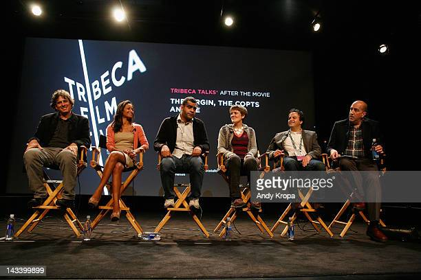 Andrew Luno writer Rula Jebreal director Namir Abdel Messeeh filmmaker Sameh Zoabi and moderator Glenn Kenny attend Tribeca Talks After The Movie...