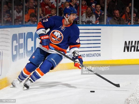 Andrew MacDonald of the New York Islanders skates against the Philadelphia Flyers at Nassau Veterans Memorial Coliseum on April 9 2013 in Uniondale...