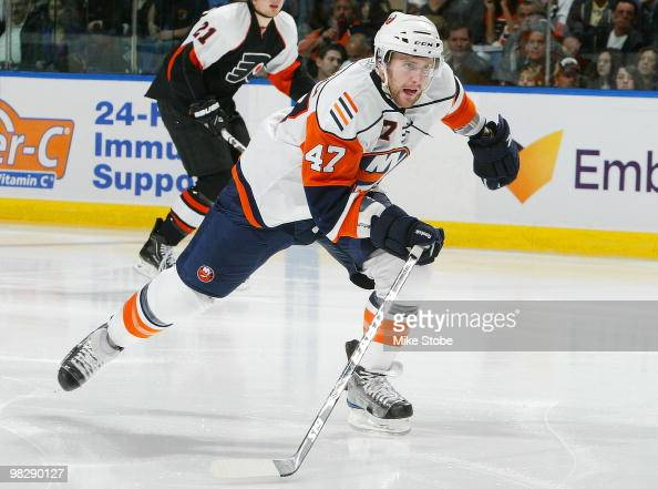 Andrew MacDonald of the New York Islanders skates against the Philadelphia Flyers on April 1 2010 at Nassau Coliseum in Uniondale New York Islanders...