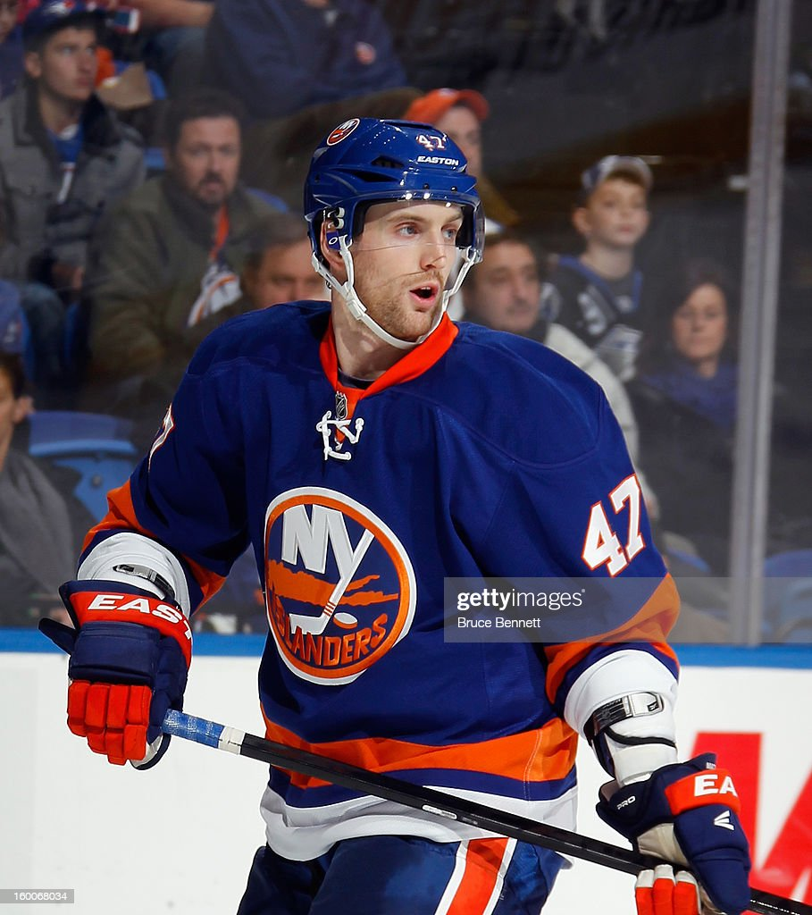 Andrew MacDonald #47 of the New York Islanders skates against the Tampa Bay Lightning at the Nassau Veterans Memorial Coliseum on January 21, 2013 in Uniondale, New York.
