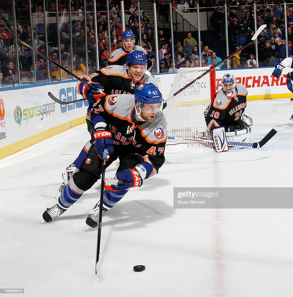 Andrew MacDonald #47 of the New York Islanders skates against the Tampa Bay Lightning at the Nassau Veterans Memorial Coliseum on April 6, 2013 in Uniondale, New York. The Islanders defeated the Lightning 4-2.