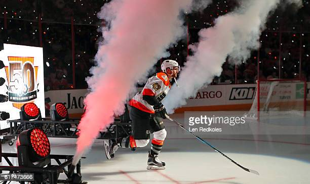 Andrew MacDonald of the Philadelphia Flyers enters the ice surface during pregame ceremonies prior to his game against the Anaheim Ducks on October...