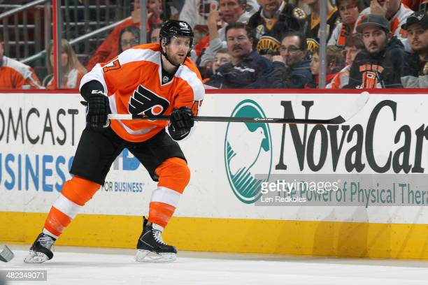 Andrew MacDonald of the Philadelphia Flyers in action against the Boston Bruins on March 30 2014 at the Wells Fargo Center in Philadelphia...