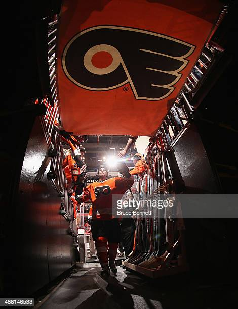 Andrew MacDonald of the Philadelphia Flyers leaves the ice following warmups prior to the game against the New York Rangers in Game Three of the...