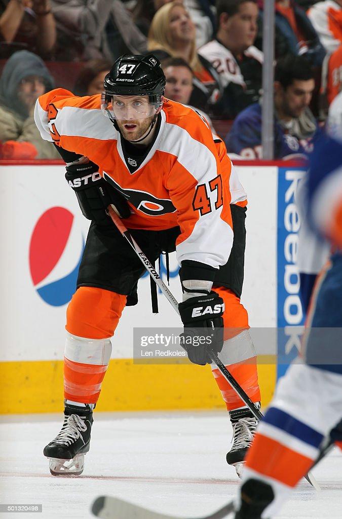 Andrew MacDonald #47 of the Philadelphia Flyers looks on against the New York Islanders on December 8, 2015 at the Wells Fargo Center in Philadelphia, Pennsylvania.