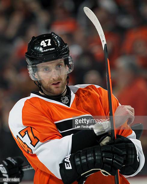 Andrew MacDonald of the Philadelphia Flyers looks on against the Washington Capitals on March 5 2014 at the Wells Fargo Center in Philadelphia...