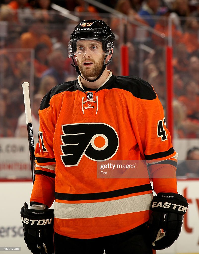 Andrew MacDonald #47 of the Philadelphia Flyers looks on during the game against the Montreal Canadiens on October 11, 2014 at the Wells Fargo Center in Philadelphia, Pennsylvania.
