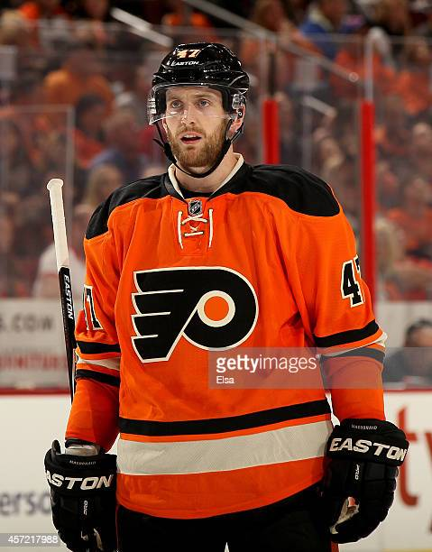 Andrew MacDonald of the Philadelphia Flyers looks on during the game against the Montreal Canadiens on October 11 2014 at the Wells Fargo Center in...
