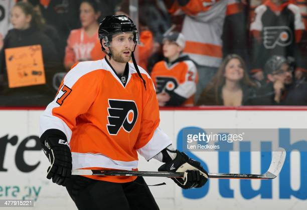 Andrew MacDonald of the Philadelphia Flyers making his debut with his new team warms up prior to his game against the Washington Capitals on March 5...