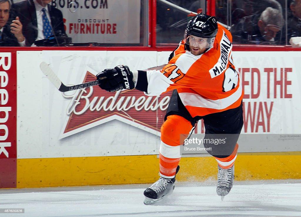 Andrew MacDonald #47 of the Philadelphia Flyers skates against the Chicago Blackhawks at the Wells Fargo Center on March 25, 2015 in Philadelphia, Pennsylvania. The Flyers defeated the Blackhawks 4-1.