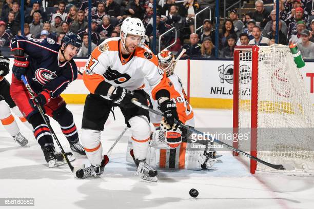 Andrew MacDonald of the Philadelphia Flyers skates against the Columbus Blue Jackets on March 25 2017 at Nationwide Arena in Columbus Ohio